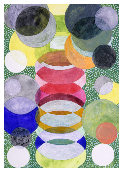 Overlapping Ovals and Circles on Green Dotted Ground Art Print by Heidi Capitaine
