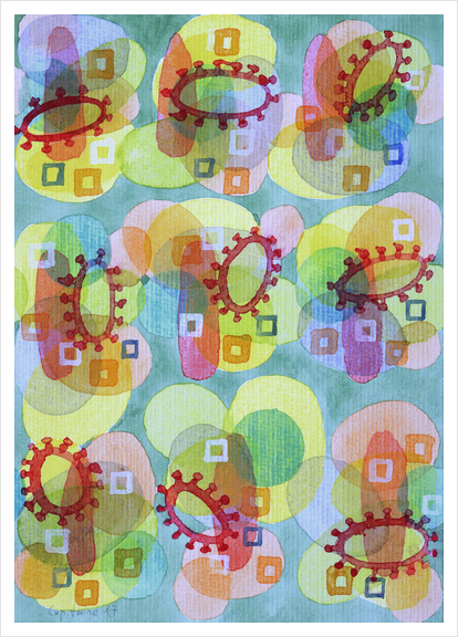 Lovely Pattern with Red Rings  Art Print by Heidi Capitaine