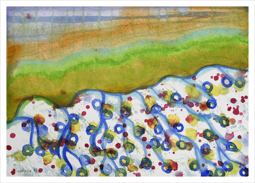 Curved Hill with Blue Rings Art Print by Heidi Capitaine