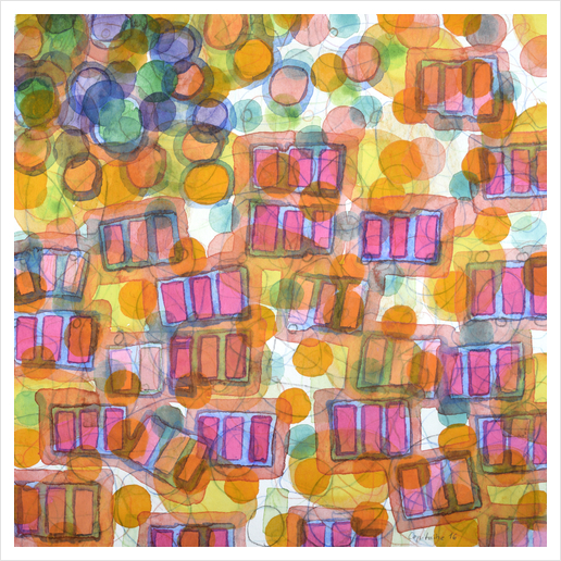 Happy Pattern with Pink Blocks Art Print by Heidi Capitaine