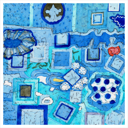 Blue Room with Blue Frames Art Print by Heidi Capitaine