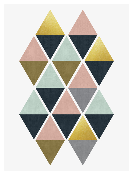 Colorful and golden triangles Art Print by Vitor Costa