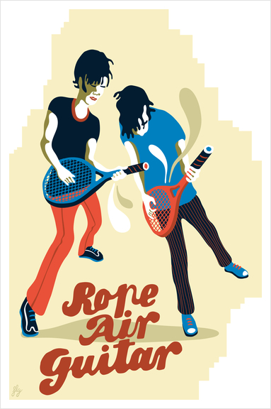 ROPE AIR GUITAR Art Print by Francis le Gaucher