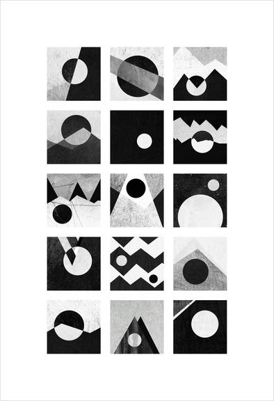 Black & white / Circles & squares Art Print by Elisabeth Fredriksson