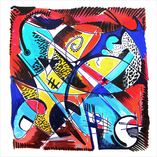 Construction rouge et bleue Art Print by Denis Chobelet