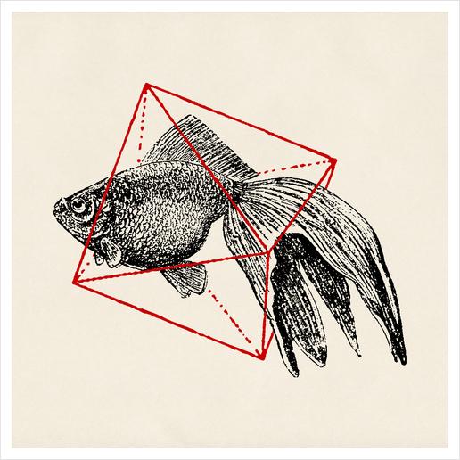Fish In Geometrics III Art Print by Florent Bodart - Speakerine