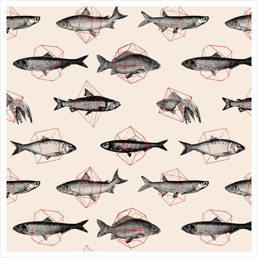 Fishes In Geometrics Art Print by Florent Bodart - Speakerine