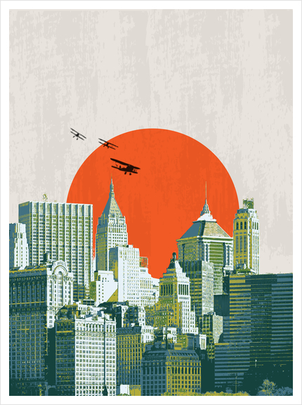 Red sun on NY Art Print by tzigone