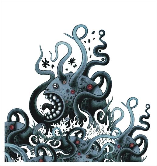 Octoworm (blue version) Art Print by Exit Man