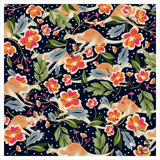 Pattern flowers and kangaroo Art Print by mmartabc