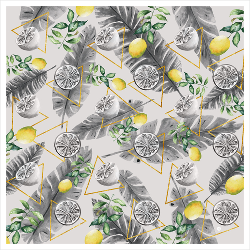 Pattern triangles with lemons Art Print by mmartabc