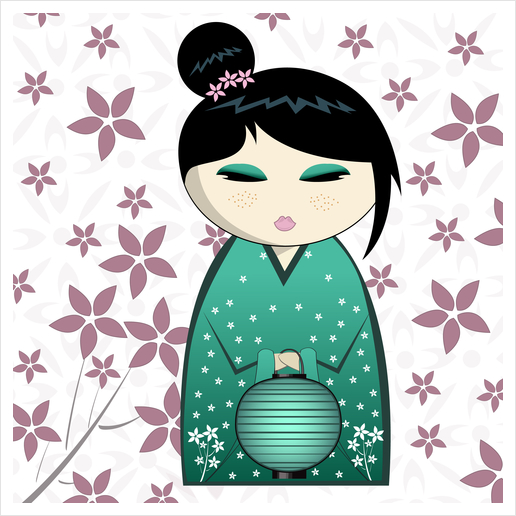 Pink flower kokeshi Art Print by PIEL Design