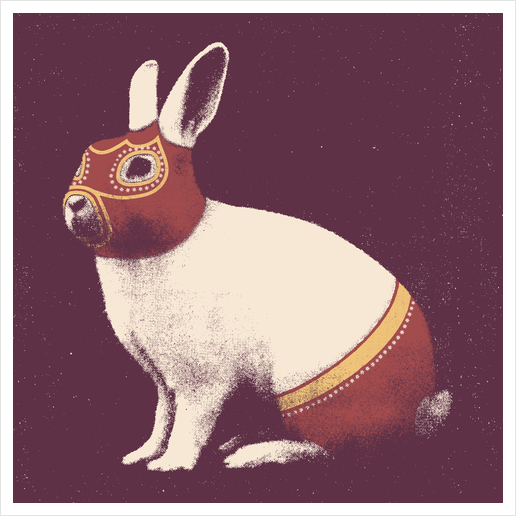 Lapin Catcheur (Rabbit Wrestler) Art Print by Florent Bodart - Speakerine