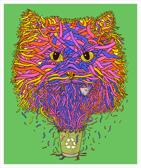 Recycle cat Art Print by Tummeow