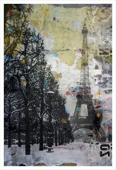 SNOW IN PARIS Art Print by db Waterman