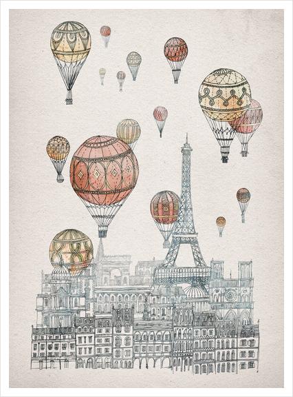 Voyages Over Paris Art Print by David Fleck