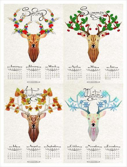 deer calendar 2015 Art Print by Manoou