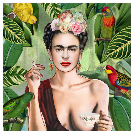 Frida con amigos Art Print by Nettsch