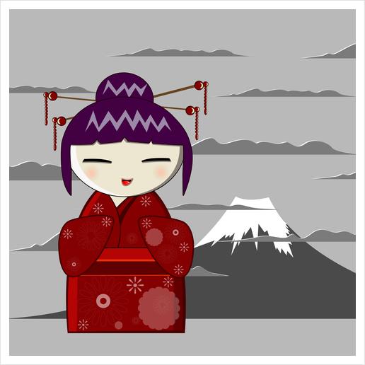 Fuji kokeshi Art Print by PIEL Design