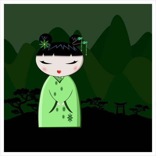 Green Kokeshi Art Print by PIEL Design