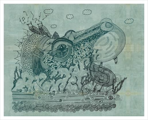 Hippopotame Art Print by Laurene