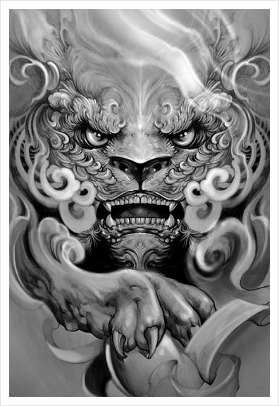 Foo dog Art Print by Elvintattoo
