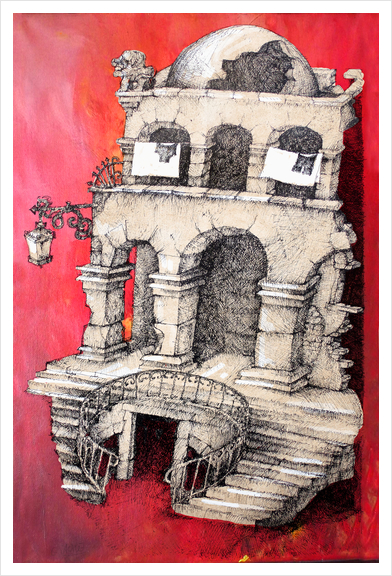 La Maison Visage Art Print by Georgio Fabrello