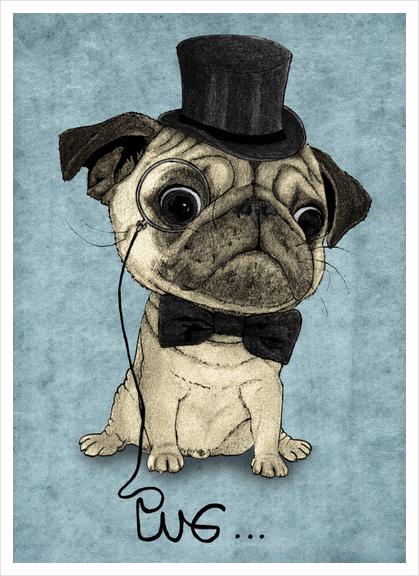 Pug; Gentle Pug Art Print by Barruf