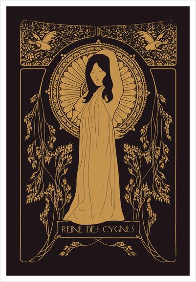 Reine des Cygnes (golden) Art Print by Florent Bodart - Speakerine