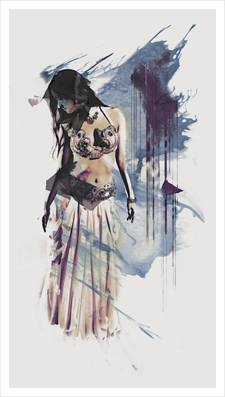 Bellydancer Abstract Art Print by Galen Valle