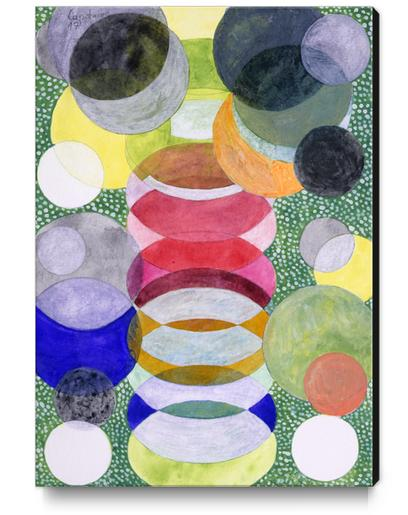 Overlapping Ovals and Circles on Green Dotted Ground Canvas Print by Heidi Capitaine
