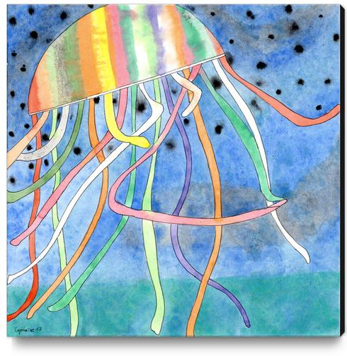 Rainbow Colored Jelly Fish  Canvas Print by Heidi Capitaine