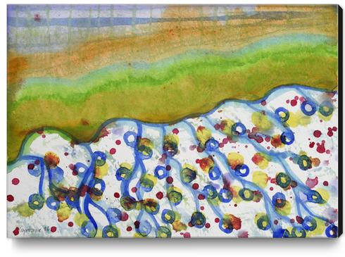 Curved Hill with Blue Rings Canvas Print by Heidi Capitaine