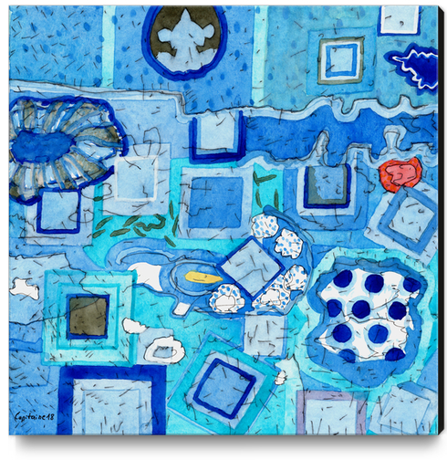 Blue Room with Blue Frames Canvas Print by Heidi Capitaine