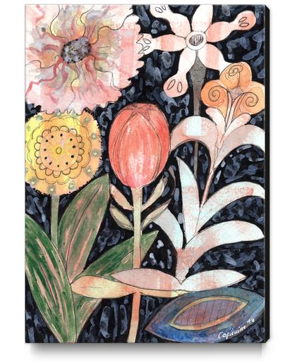 Mixed Flowers with Tulip on Black  Canvas Print by Heidi Capitaine