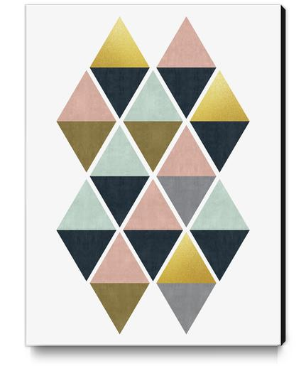 Colorful and golden triangles Canvas Print by Vitor Costa