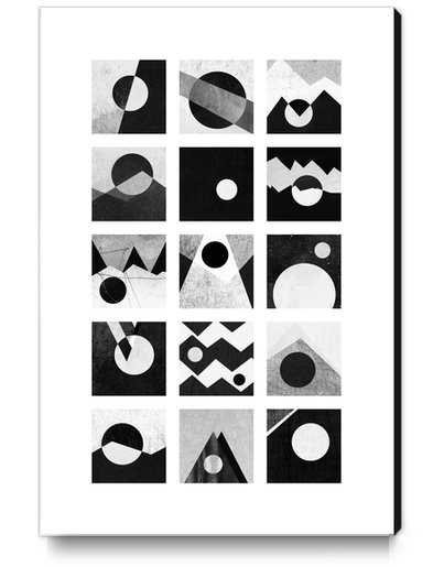 Black & white / Circles & squares Canvas Print by Elisabeth Fredriksson