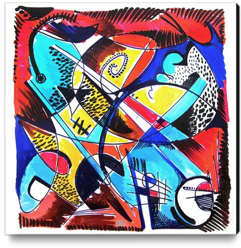 Construction rouge et bleue Canvas Print by Denis Chobelet