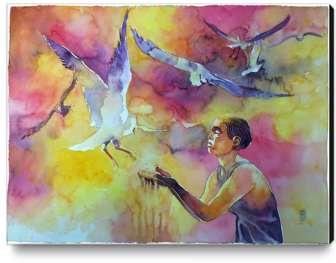 Feeding the seagull Canvas Print by andreuccettiart