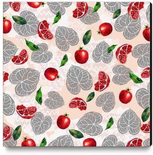 Love leaves with fruits Canvas Print by mmartabc