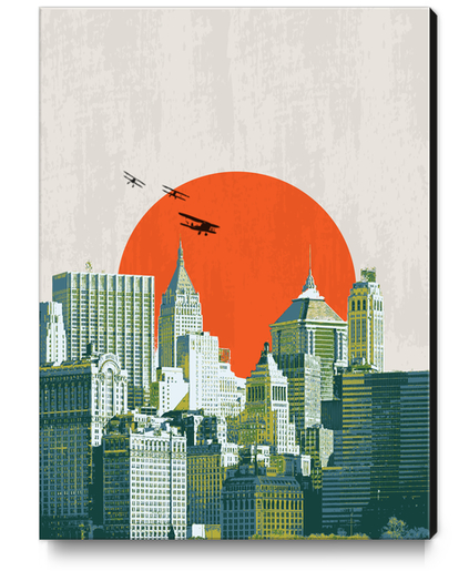 Red sun on NY Canvas Print by tzigone