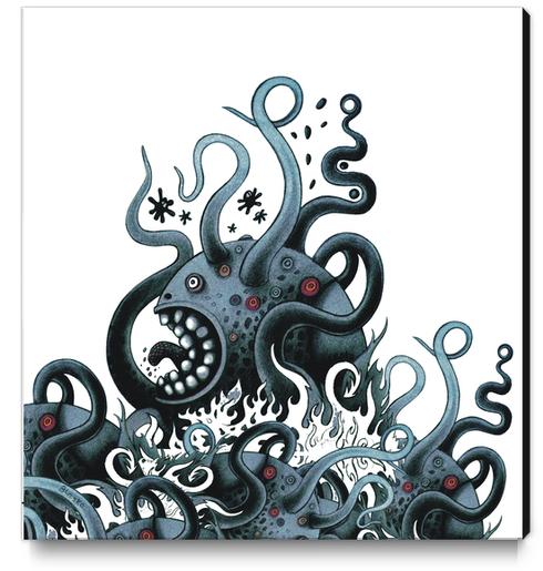 Octoworm (blue version) Canvas Print by Exit Man