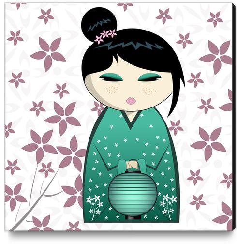 Pink flower kokeshi Canvas Print by PIEL Design