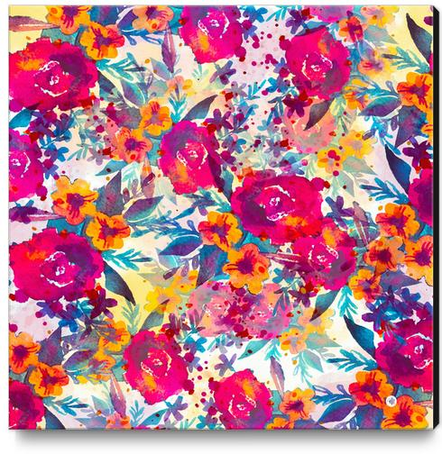 Watercolor flowers and plants I Canvas Print by mmartabc