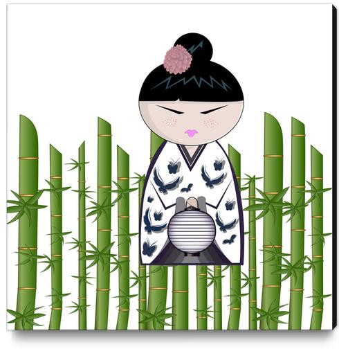 Bamboo kokeshi Canvas Print by PIEL Design