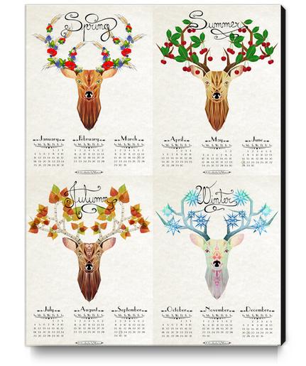 deer calendar 2015 Canvas Print by Manoou