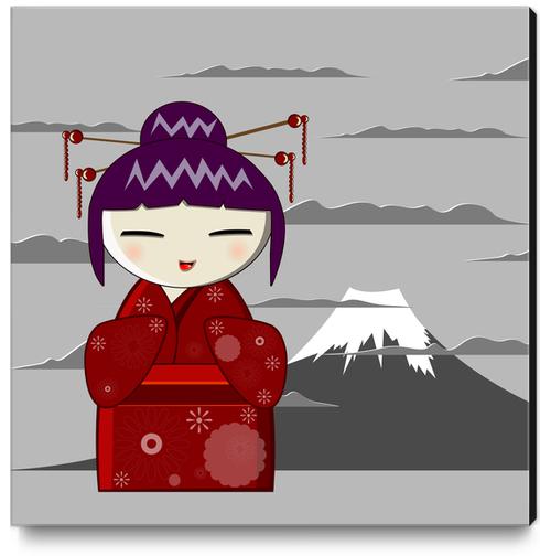 Fuji kokeshi Canvas Print by PIEL Design