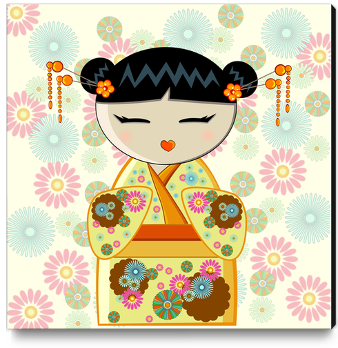Yellow kokeshi Canvas Print by PIEL Design