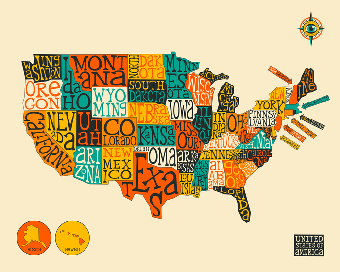 Modern Us Map.United States Map Artwork By Jazzberry Blue Artsider