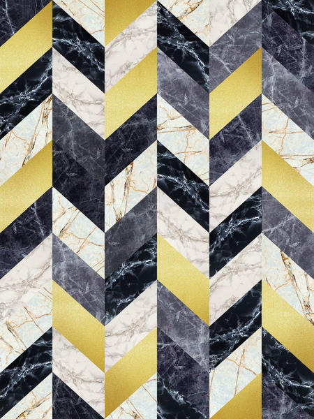 Chevron geometric marble and gold by Vitor Costa